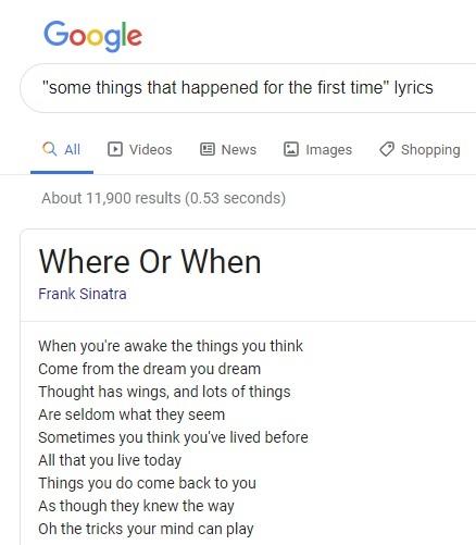 'Where or When' lyrics