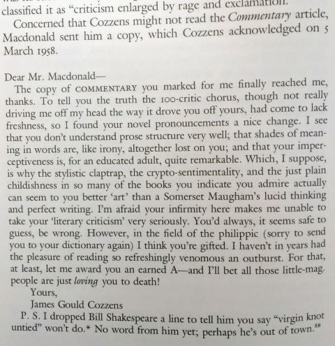 Cozzens replies to Macdonald, March 1958