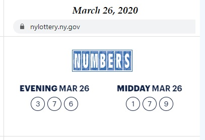 NY Lottery numbers, midday and evening, March 26, 2020
