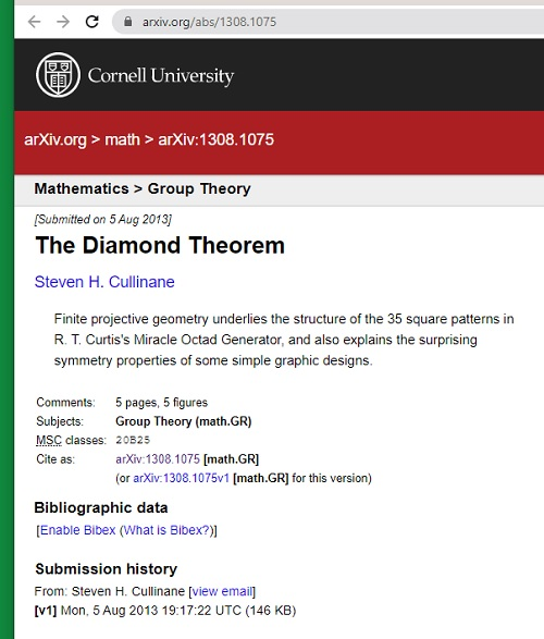 The Diamond Theorem, arXiv, 5 August 2013