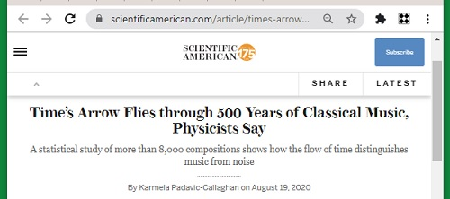 'Time's Arrow Flies through 500 Years of Classical Music'