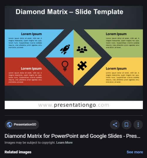 Diamond Matrix slide template at presentationgo.com