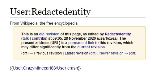 First Wikipedia 'user talk' page for 'Redactedentity' with a reference to 'CrazyMinecart88'