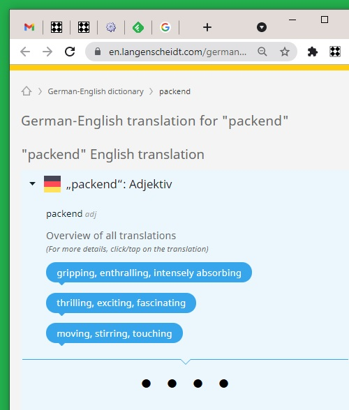 Translation of 'packend' from German to English