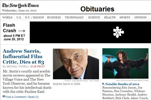 IMAGE- NY Times obituaries with Andrew Sarris (film critic), Flash Crash, and Donna Summer