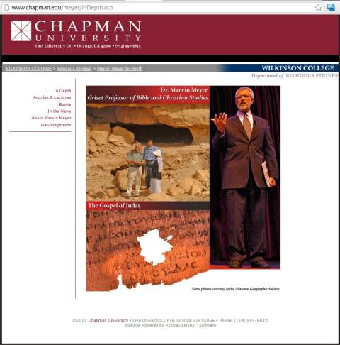 IMAGE- The late Professor Marvin W. Meyer of Chapman University in Orange, CA, with the university's emblem, the eight-pointed star