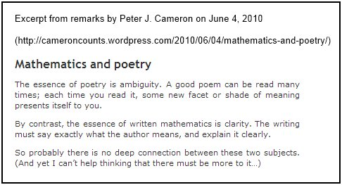 IMAGE- Peter J. Cameron discusses 'ambiguity' in poety and in mathematics.