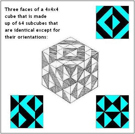 Faces of Solomon's Cube, related to Escher's 'Verbum'